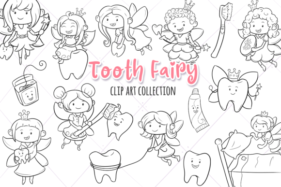 Download Free Tooth Fairy Digital Stamps Graphic By Keepinitkawaiidesign for Cricut Explore, Silhouette and other cutting machines.