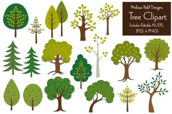 Tree Clipart Graphics Graphic Illustrations By Melissa Held Designs