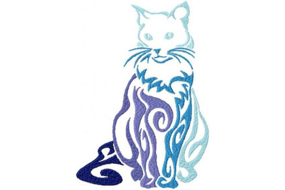 Tribal Ombre Cat Cats Embroidery Design By Sue O'Very Designs