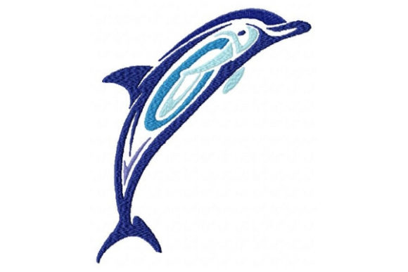 Tribal Ombre Dolphin Marine Mammals Embroidery Design By Sue O'Very Designs - Image 1