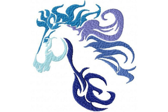 Tribal Ombre Horse Farm Animals Embroidery Design By Sue O'Very Designs