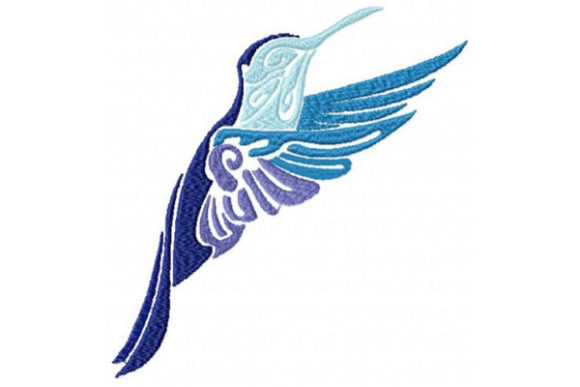 Tribal Ombre Hummingbird Birds Embroidery Design By Sue O'Very Designs - Image 1
