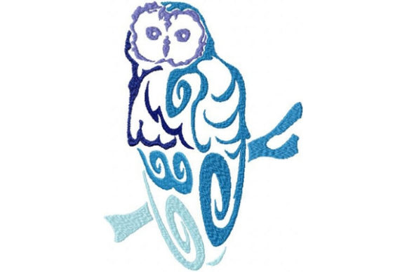 Tribal Ombre Owl Birds Embroidery Design By Sue O'Very Designs - Image 1