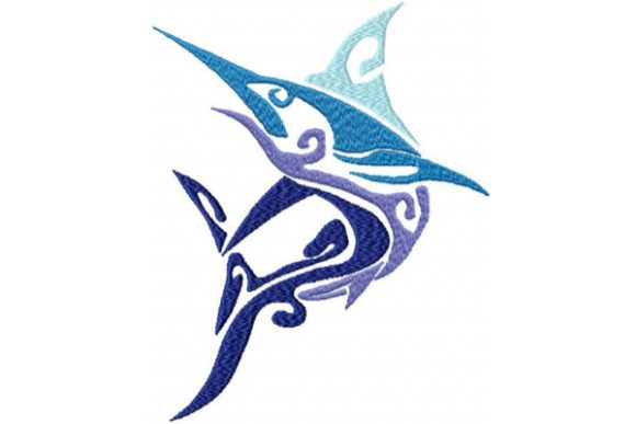 Tribal Ombre Swordfish Fish & Shells Embroidery Design By Sue O'Very Designs