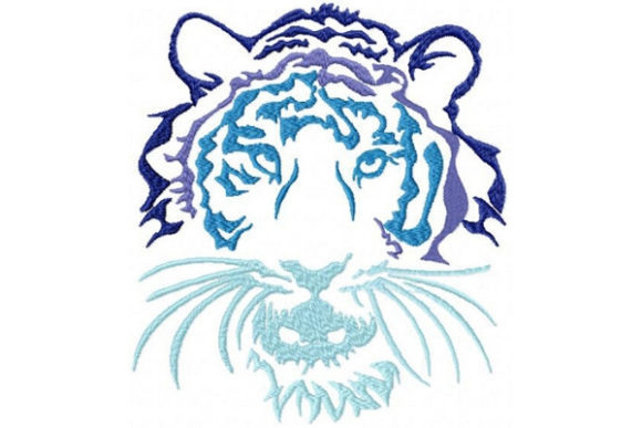 Tribal Ombre Tiger Wild Animals Embroidery Design By Sue O'Very Designs - Image 1