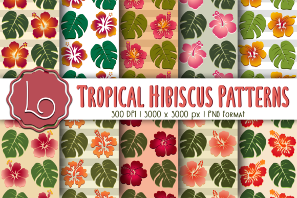 Download Free Tropical Hibiscus Patterns Graphic By La Oliveira Creative Fabrica for Cricut Explore, Silhouette and other cutting machines.