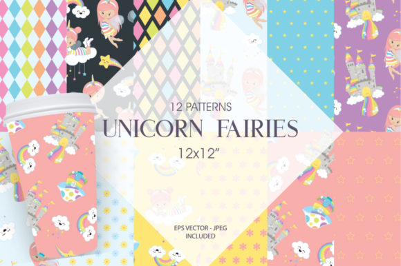 Print on Demand: Unicorn Fairies Grafik Muster von Prettygrafik