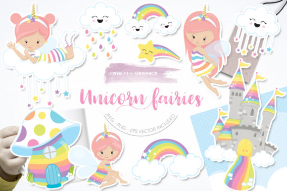 Print on Demand: Unicorn Fairies Graphic Graphic Templates By Prettygrafik