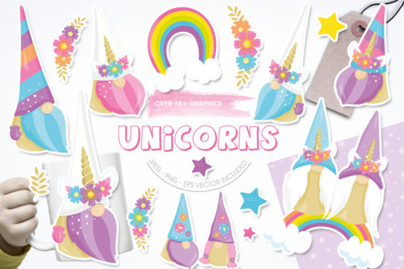 Print on Demand: Unicorn Gnome Graphic Illustrations By Prettygrafik