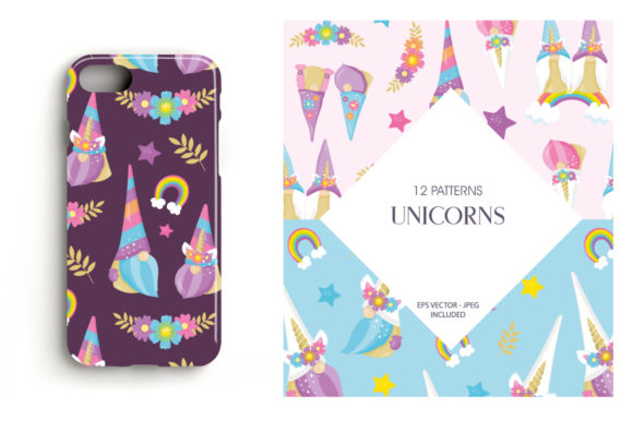 Print on Demand: Unicorn Gnomes Graphic Patterns By Prettygrafik