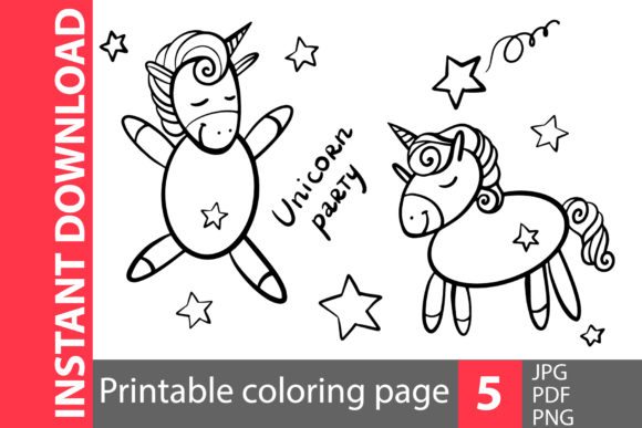 Unicorn Party Coloring Pages Graphic Coloring Pages & Books Kids By NataliMyaStore