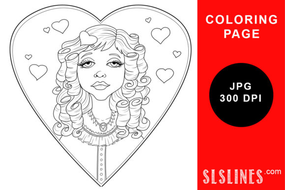 Print on Demand: Vintage Heart Valentine Girl Coloring Graphic Coloring Pages & Books Adults By SLS Lines