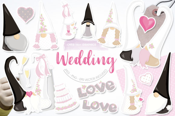 Print on Demand: Wedding Gnome Graphic Graphic Templates By Prettygrafik