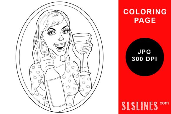 Print on Demand: Wine Lady with a Glass Coloring Page Graphic Coloring Pages & Books Adults By SLS Lines