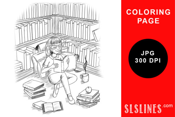 Print on Demand: Young Book Lover Reading Coloring Page Graphic Coloring Pages & Books Adults By SLS Lines