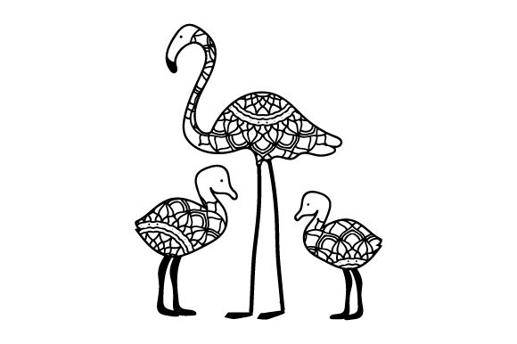 Mom and Baby Flamingos Mandalas Plotterdatei von Creative Fabrica Crafts