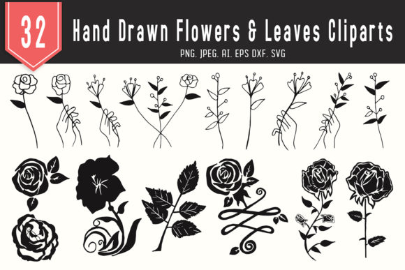 Download Free 30 Flowers Leaves Floral Cliparts Graphic By Creative Tacos for Cricut Explore, Silhouette and other cutting machines.