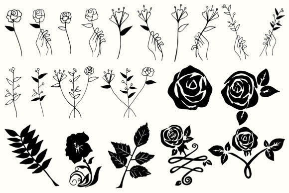 Download Free 30 Flowers Leaves Floral Cliparts Graphic By Creative Tacos SVG Cut Files