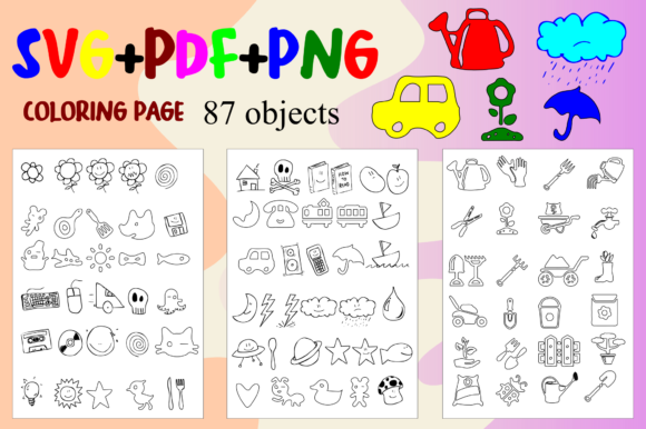 Print on Demand: 87 Objects & Fun Coloring Pages Bundle Graphic Coloring Pages & Books Kids By Rusd studio
