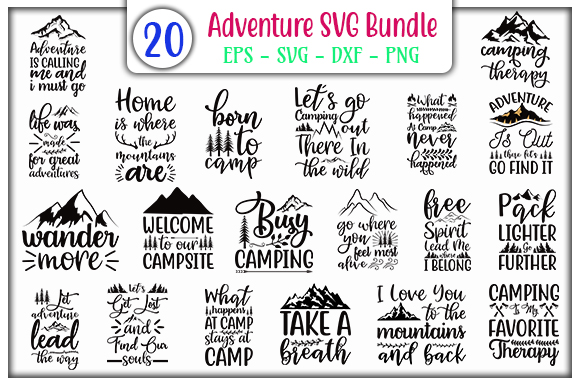 Download Free Adventure Bundle Graphic By Graphicsbooth Creative Fabrica for Cricut Explore, Silhouette and other cutting machines.