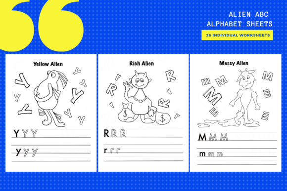 Alien Alphabet ABC Activity Sheets X26 Gráfico Material educativo Por yumbeehomeschool
