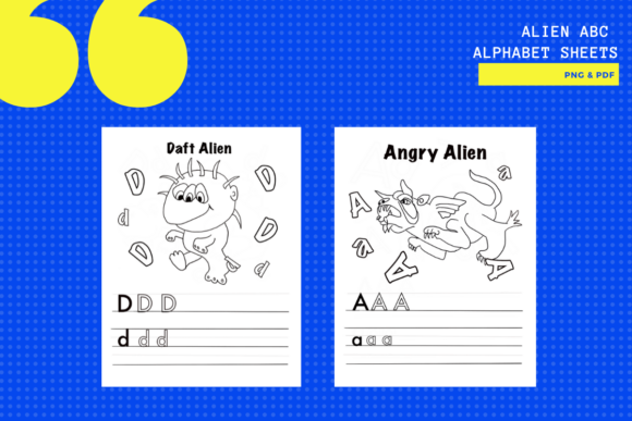Print on Demand: Alien Alphabet ABC Activity Sheets X26 Graphic Teaching Materials By yumbeehomeschool - Image 2