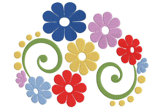 Awesome Flower Composition Single Flowers & Plants Embroidery Design By Embroidery Shelter