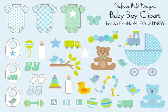Download Free Baby Boy Clipart Graphic By Melissa Held Designs Creative Fabrica for Cricut Explore, Silhouette and other cutting machines.