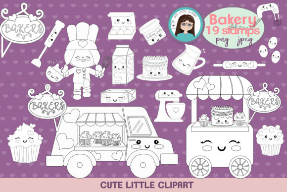 Bakery Kawaii Stamps Graphic Coloring Pages & Books Kids By CuteLittleClipart