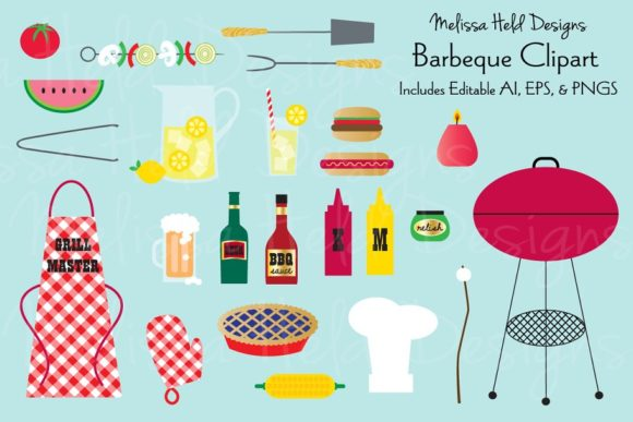 Barbecue Clipart Graphic Illustrations By Melissa Held Designs