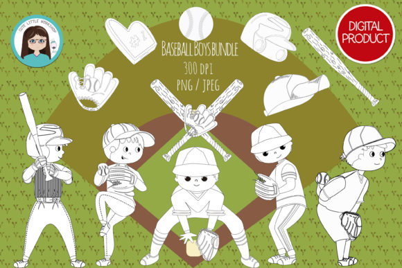 Baseball Boys Stamp Graphic Coloring Pages & Books Kids By CuteLittleClipart