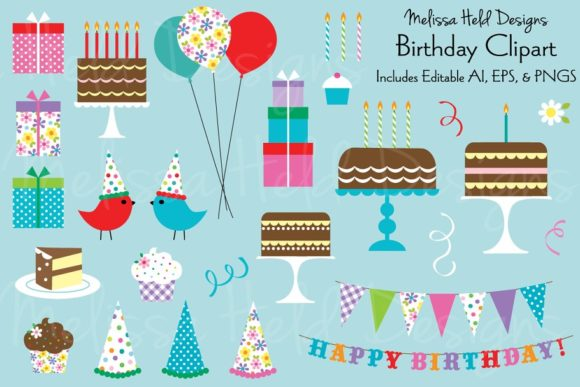Birthday Clipart Graphic Illustrations By Melissa Held Designs