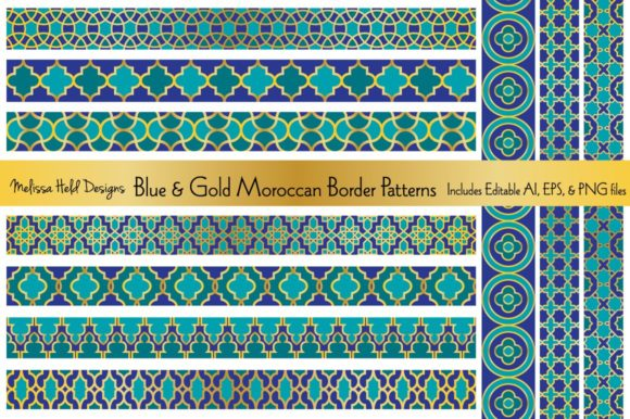 Download Free Blue Gold Moroccan Borders Graphic By Melissa Held Designs for Cricut Explore, Silhouette and other cutting machines.