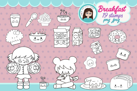 Breakfast Time Girl Stamps Graphic Coloring Pages & Books Kids By CuteLittleClipart