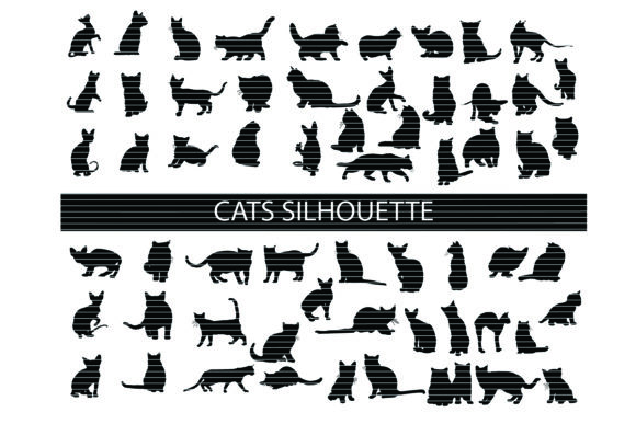 Print on Demand: Cats Silhouette Clip Art Bundle Graphic Crafts By MeshaArts