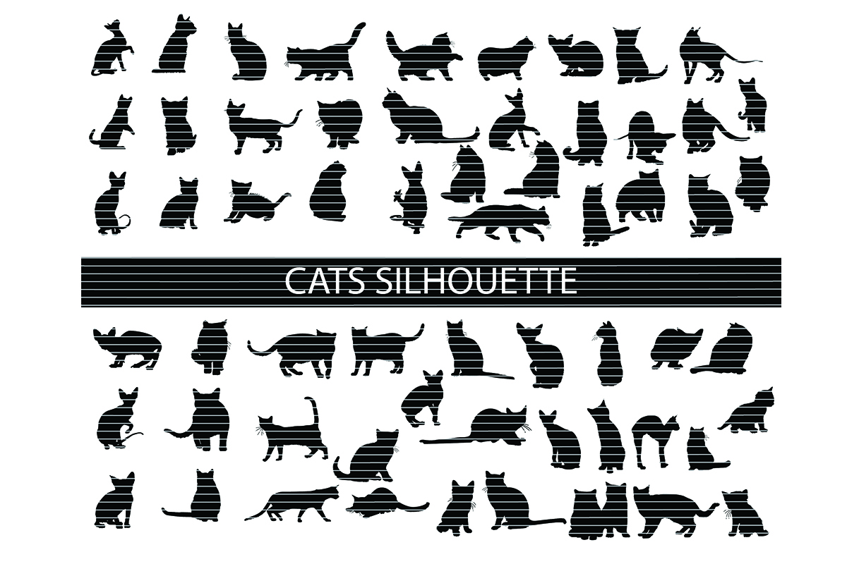 Download Free Cats Silhouette Clip Art Bundle Graphic By Meshaarts Creative for Cricut Explore, Silhouette and other cutting machines.