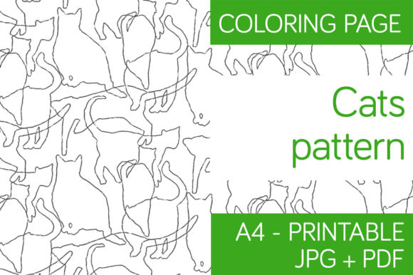 Print on Demand: Cats Pattern - Coloring Page. Graphic Coloring Pages & Books Adults By Milaski
