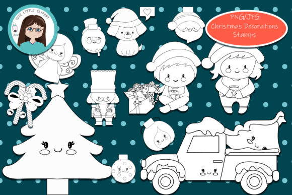 Christmas Decorations Stamps Graphic Coloring Pages & Books Kids By CuteLittleClipart - Image 1