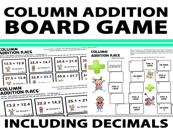 Column Addition Board Game with Decimals Graphic 4th grade By Saving The Teachers - Image 1