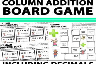 Column Addition Board Game with Decimals Graphic 4th grade By Saving The Teachers
