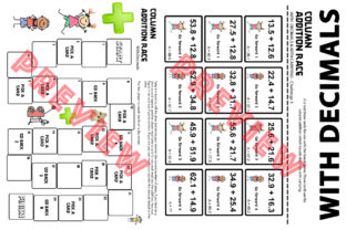 Column Addition Board Game with Decimals Graphic 4th grade By Saving The Teachers 2