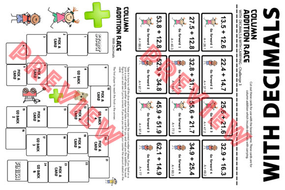 Column Addition Board Game with Decimals Graphic 4th grade By Saving The Teachers - Image 2