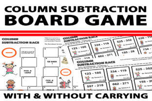 Column Subtraction Board Game Graphic 3rd grade By Saving The Teachers