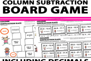Column Subtraction with Decimals Game Graphic 4th grade By Saving The Teachers