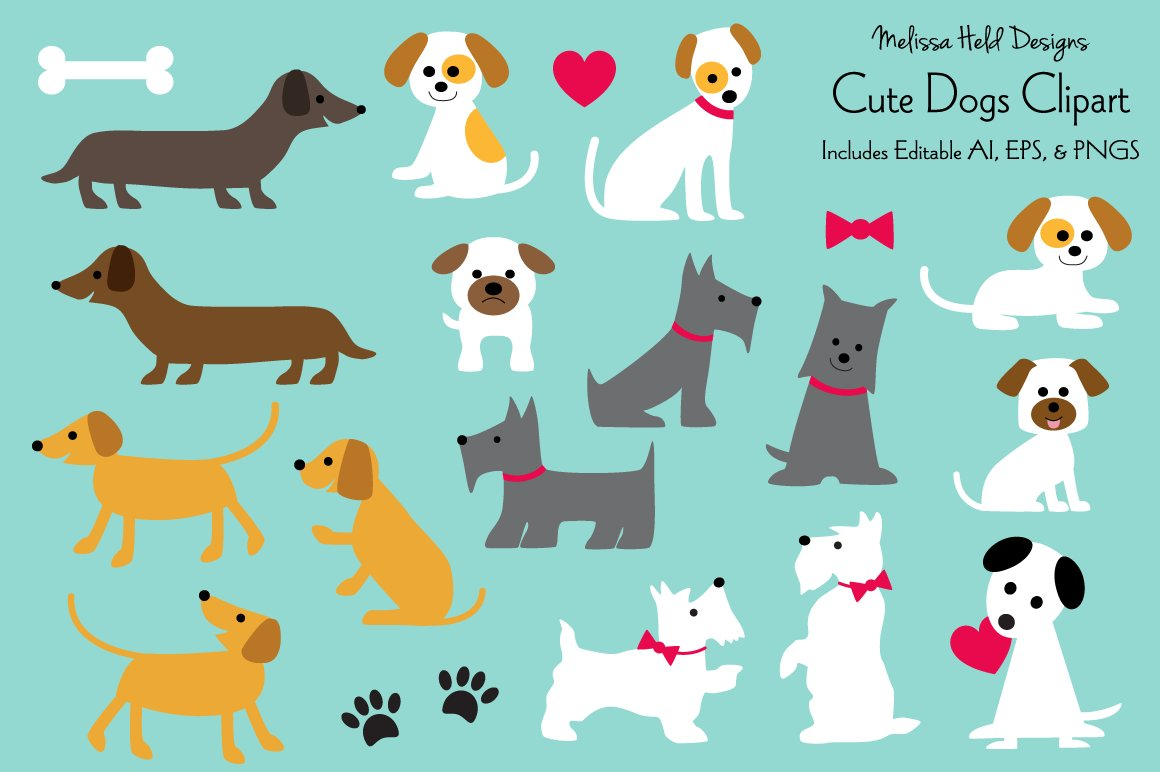 Download Free Cute Dogs Clipart Graphic By Melissa Held Designs Creative Fabrica for Cricut Explore, Silhouette and other cutting machines.