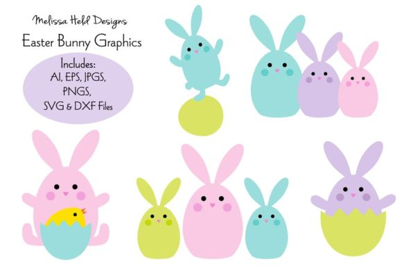 Download Free Cute Easter Bunny Chick Graphics Graphic By Melissa Held for Cricut Explore, Silhouette and other cutting machines.