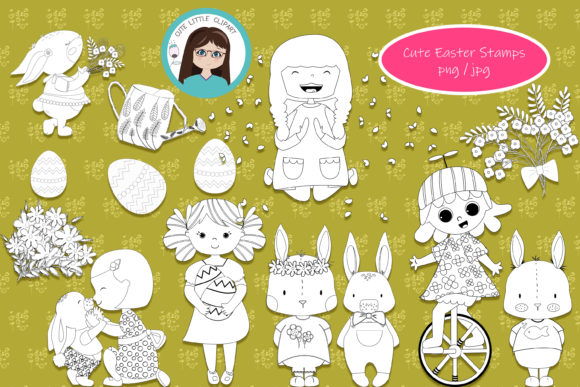 Cute Easter Stamps Graphic Coloring Pages & Books Kids By CuteLittleClipart