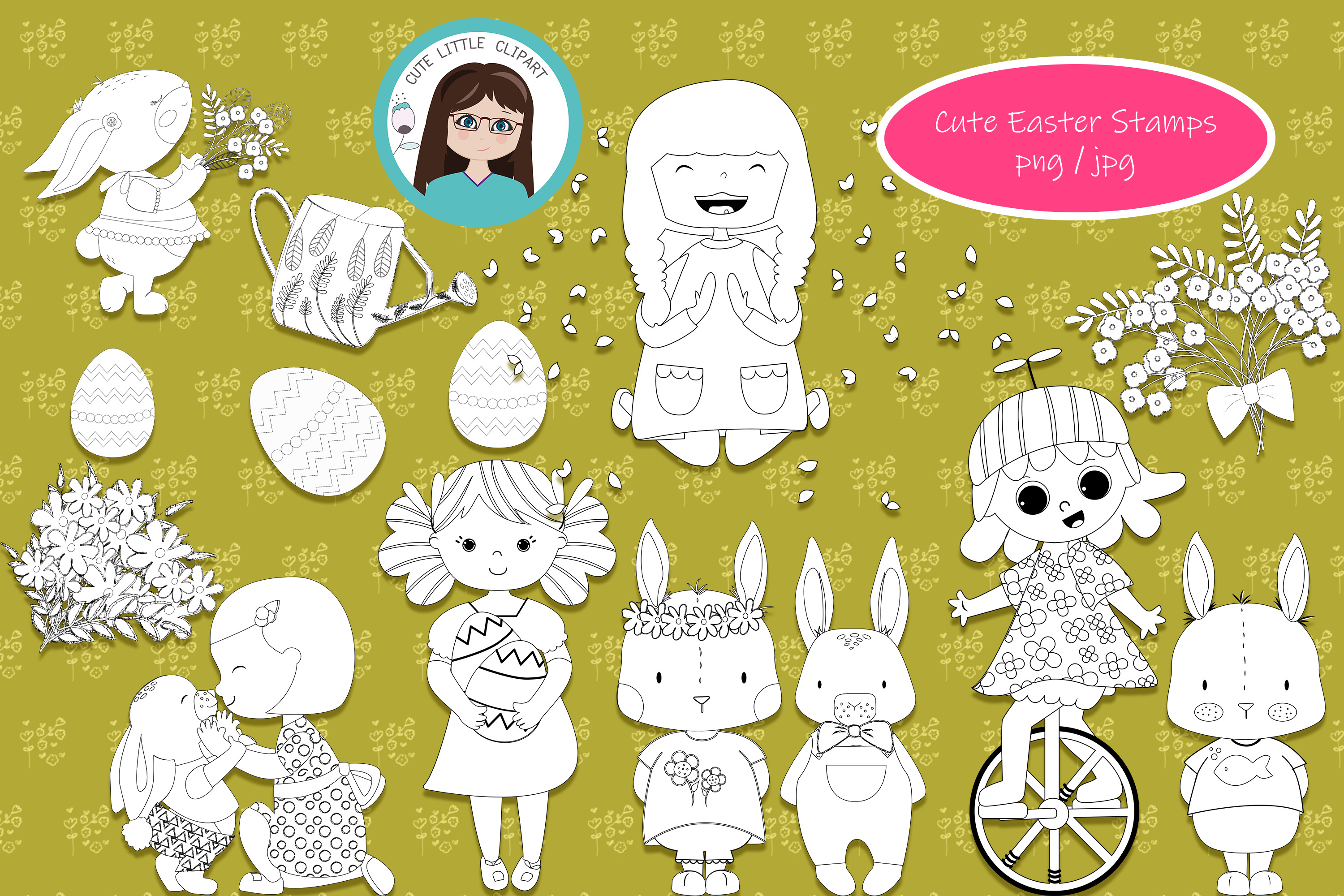 Download Free Cute Easter Stamps Graphic By Cutelittleclipart Creative Fabrica for Cricut Explore, Silhouette and other cutting machines.