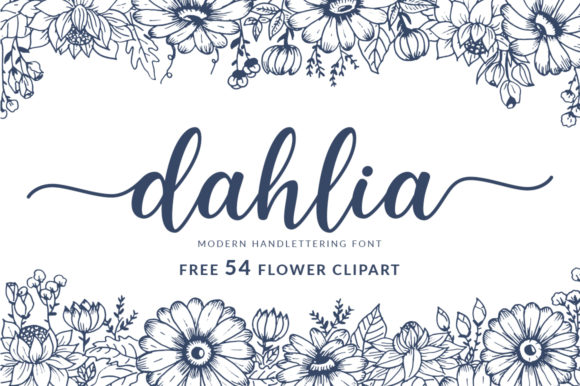 Download Free Dahlia Font By Graphix Line Studio Creative Fabrica for Cricut Explore, Silhouette and other cutting machines.