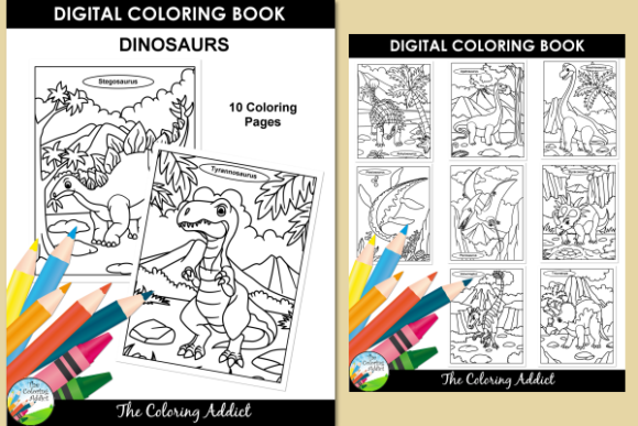 Print on Demand: Dinosaurs Coloring Book Gráfico Libros para colorear - Niños Por Aisne